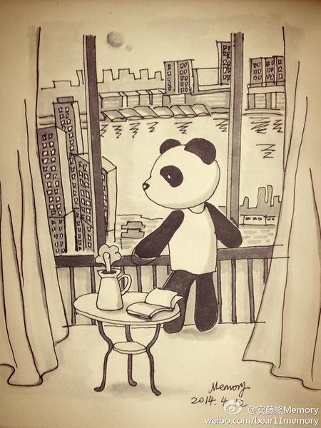 安藤熊memory手绘插画[一个人的假期]|绘画习作|插画
