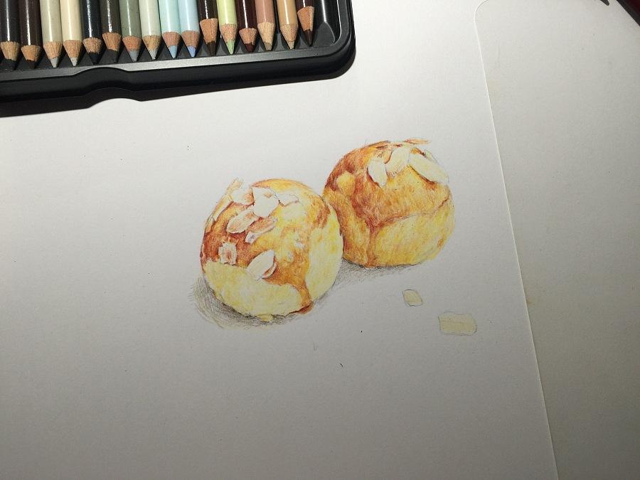 彩铅手绘—蛋黄酥