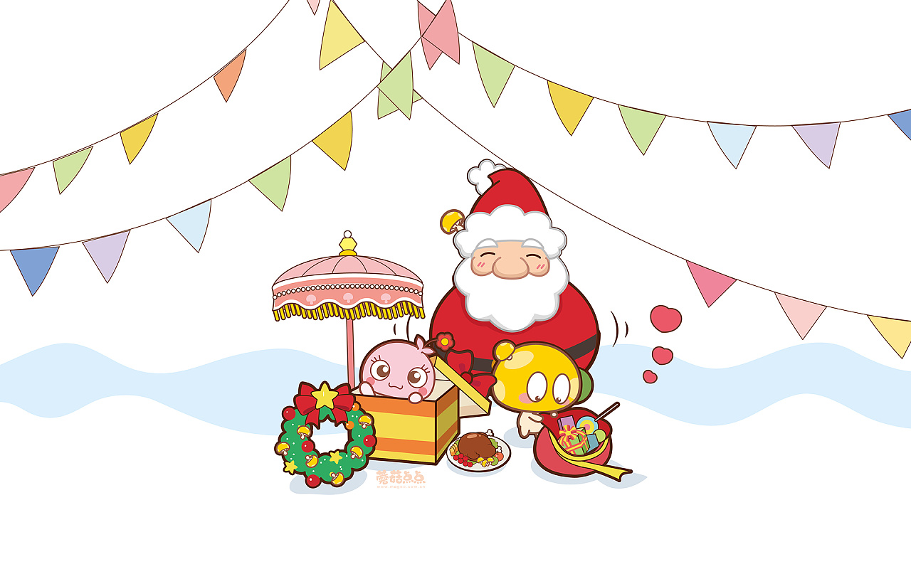 蘑菇点点 情侣圣诞壁纸系列