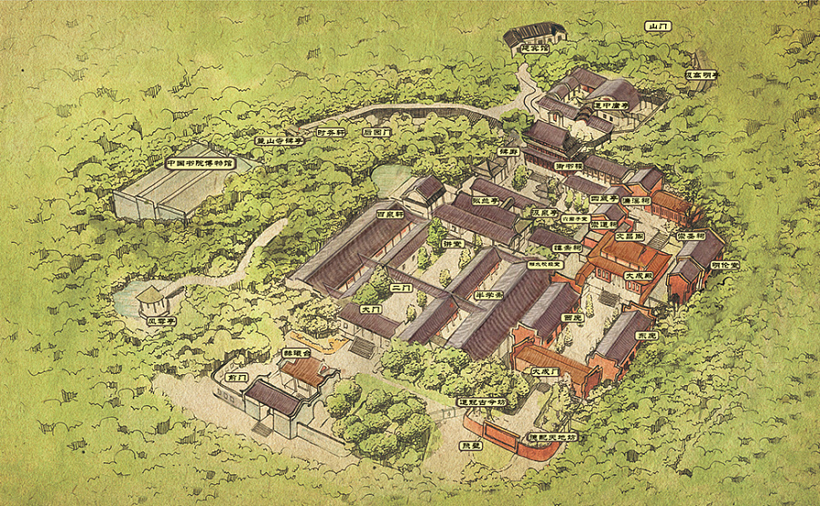 长沙岳麓书院手绘地图和明信片
