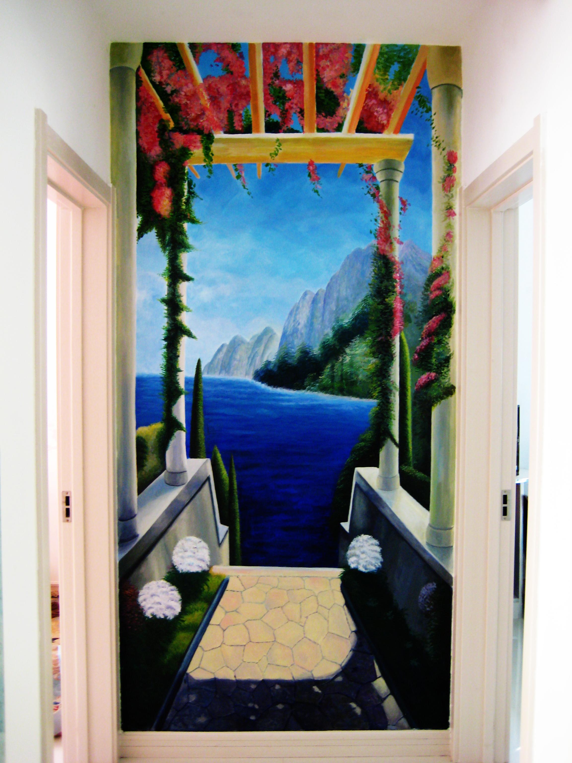室内墙面手绘三维风景图,意境很深远.