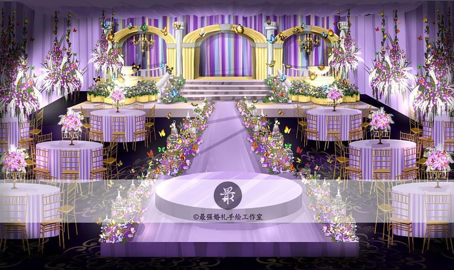 【婚礼手绘】电脑手绘—紫色厅内效果图