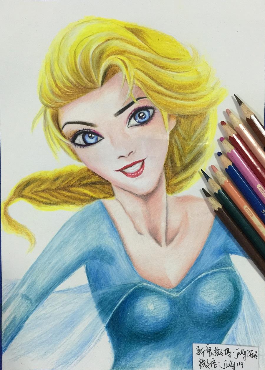 原创作品:我的彩铅手绘《艾莎女王》