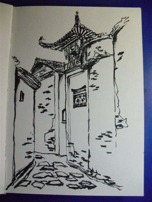 西递宏村速写_徽派建筑写生|纯艺术|速写|UIUE火火火 - 原创作品 - 站酷 (ZCOOL)