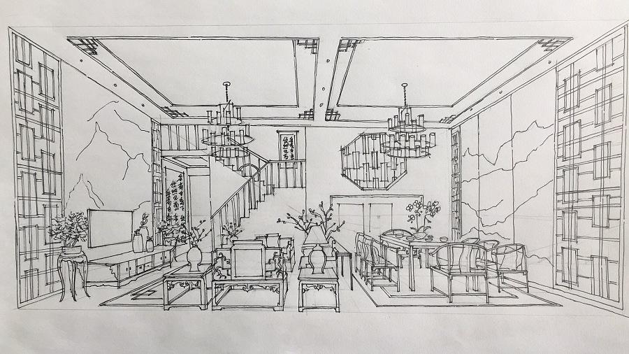 马克笔手绘客餐厅效果图|室内设计|空间|敖珍 - 原创