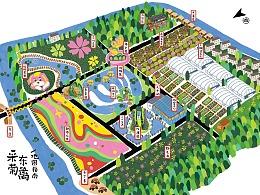 """为""""采菊东篱""""田园综合体绘制的手绘地图一张"""