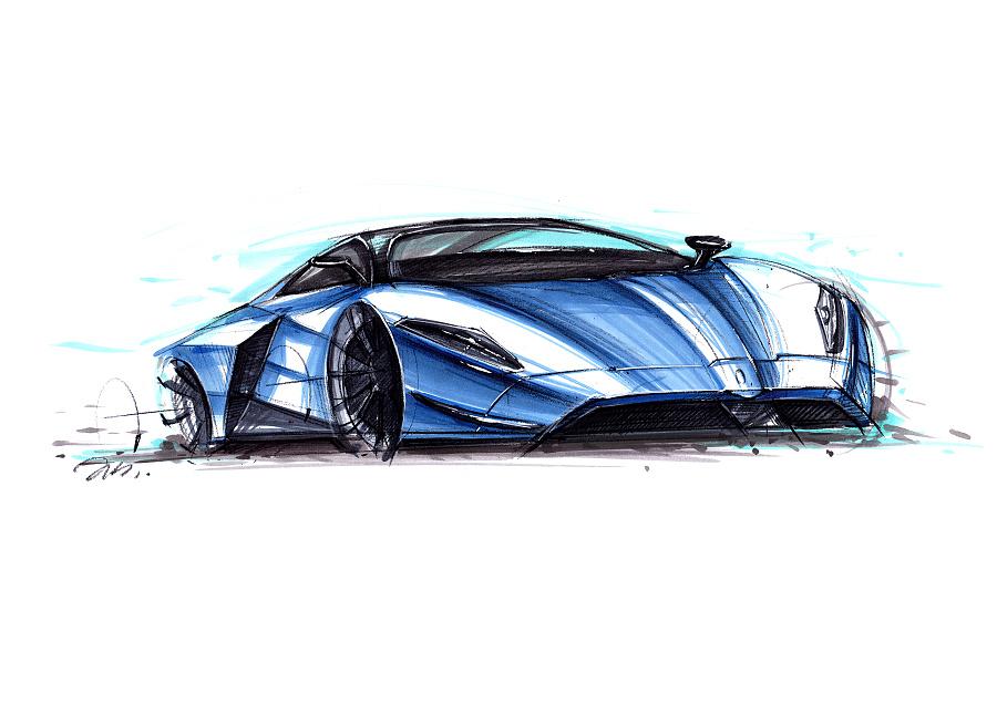 工业产品设计手绘之 超级跑车上色图~~马赛(mars)
