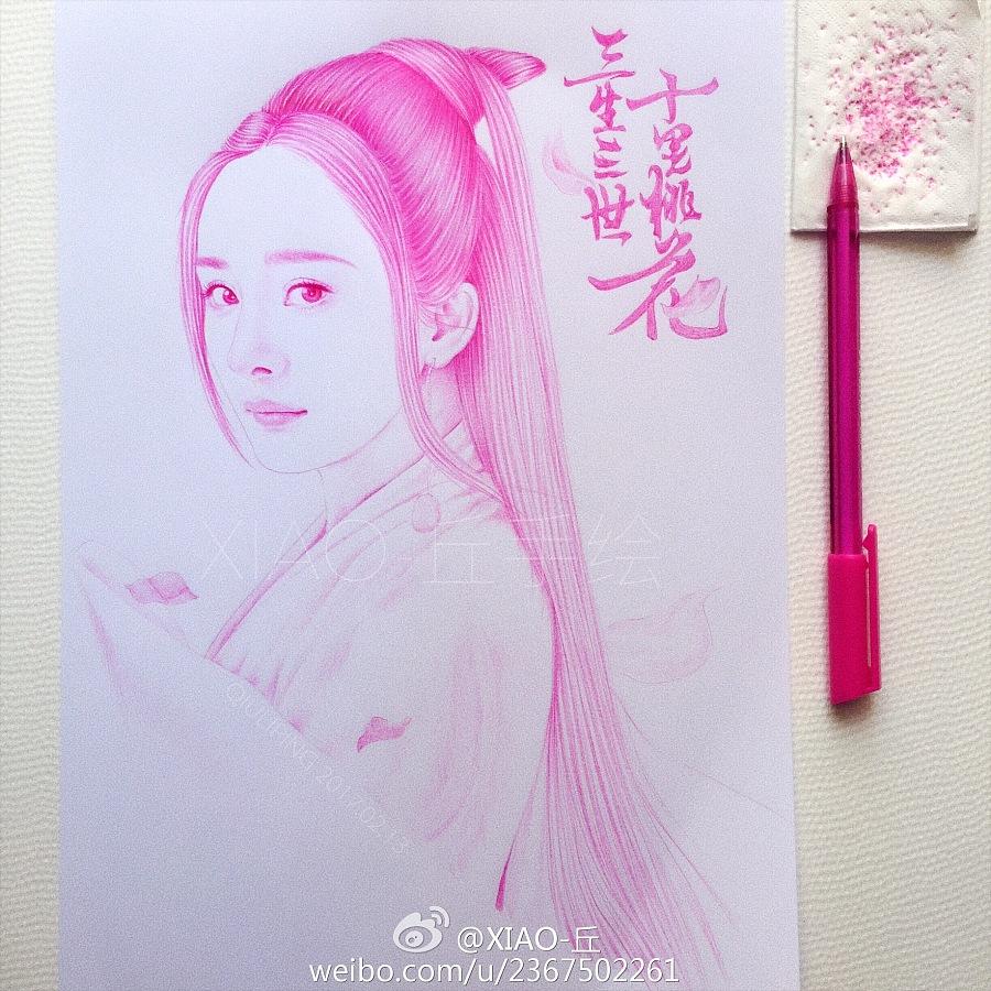 圆珠笔手绘三生三世十里桃花之白浅|商业插画