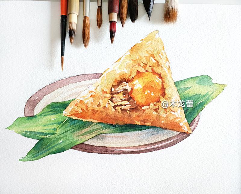 """〔端午〕粽子古称""""角黍"""",手绘水彩画,一只蛋黄"""