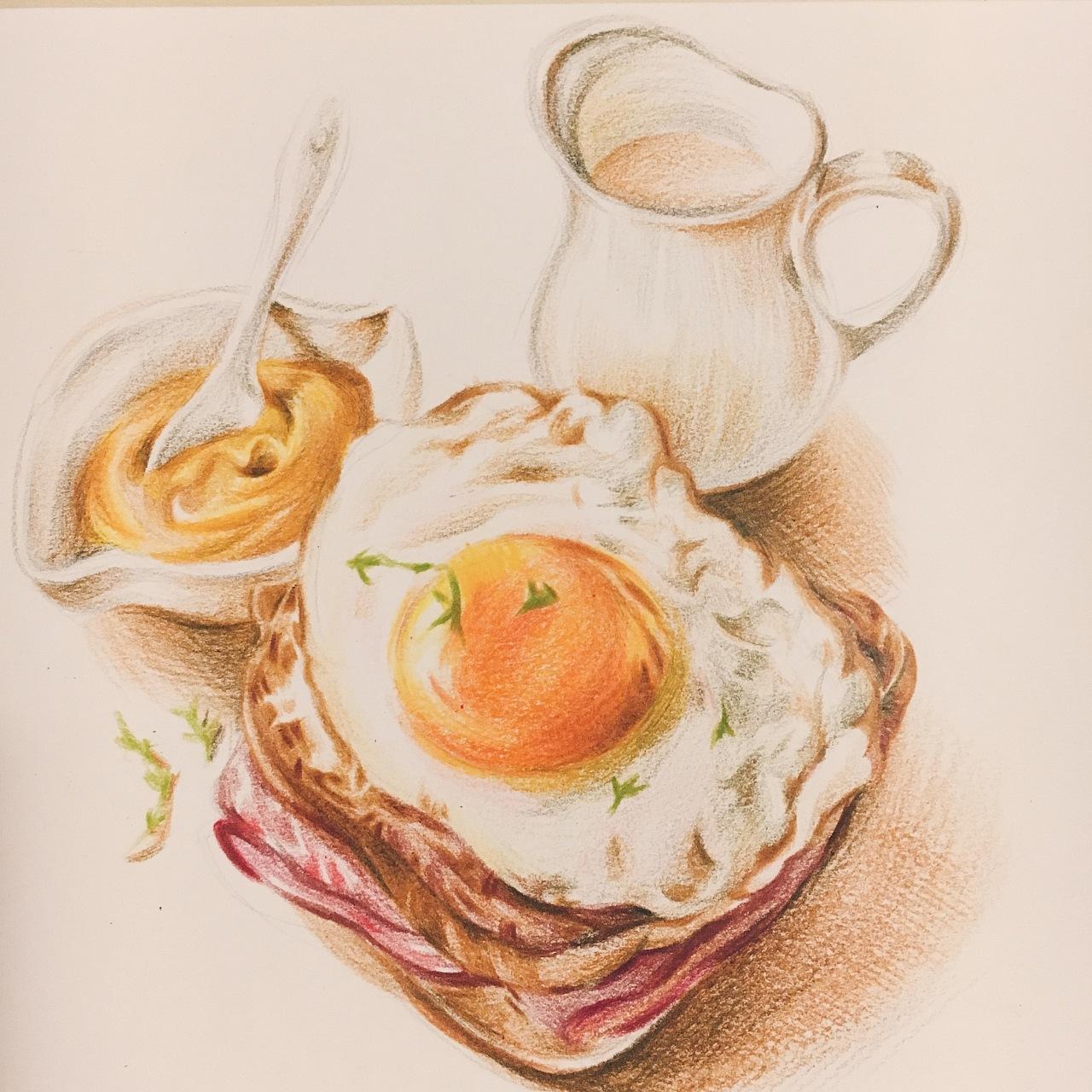 香港美食手绘彩铅图片