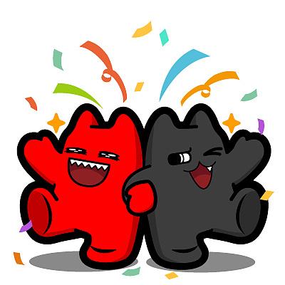 r67【魔鬼猫表情-出场】#全身 双子 踢腿 喷花 牵手 庆祝 跳起  开心图片