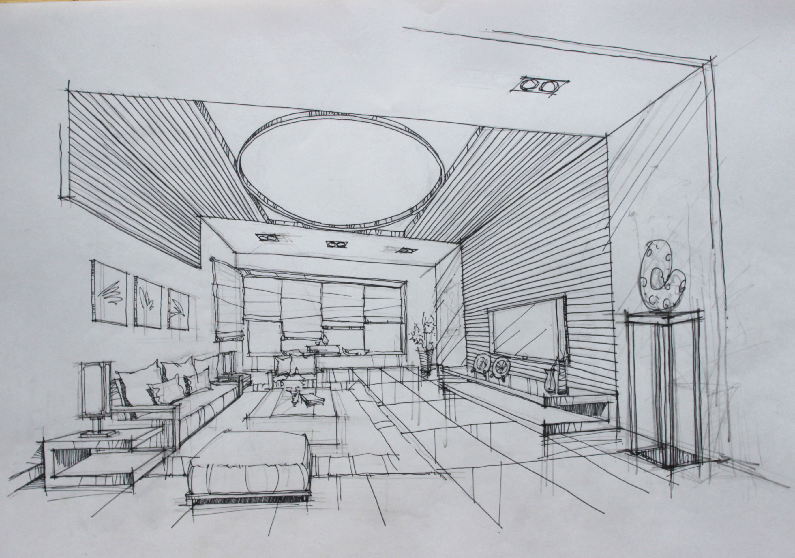 客厅设计手绘草图