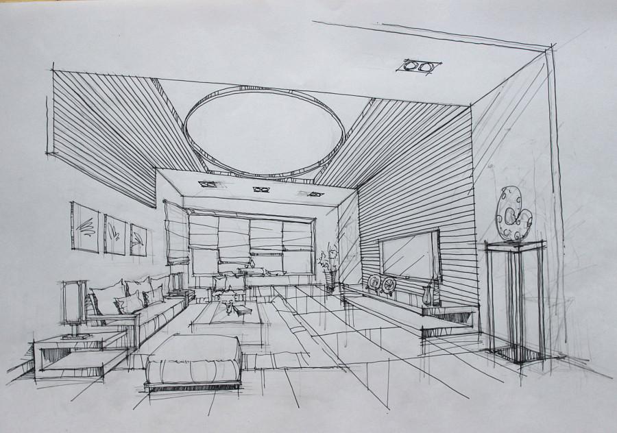 客厅设计手绘草图|室内设计|空间/建筑|翁小峰