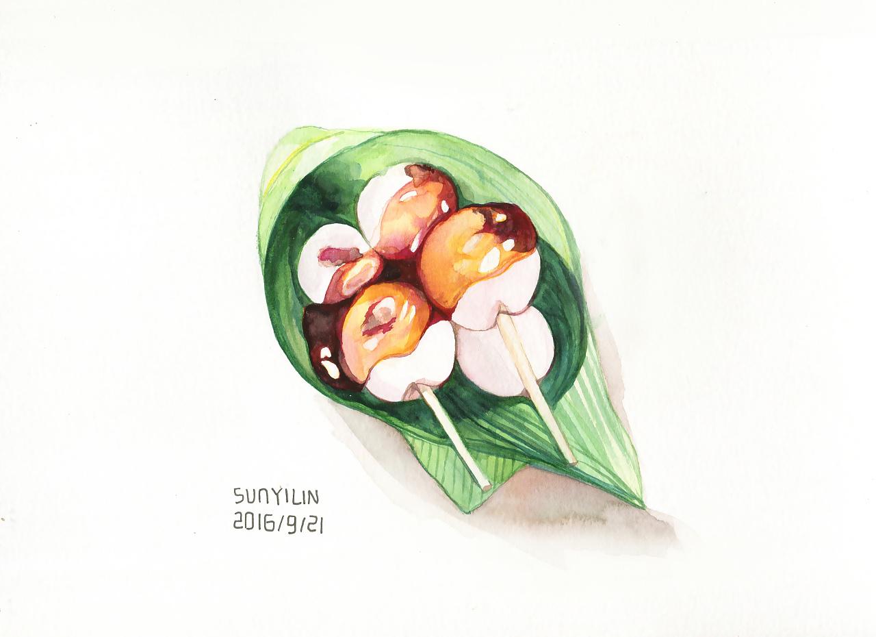 日式烤团子 水彩手绘
