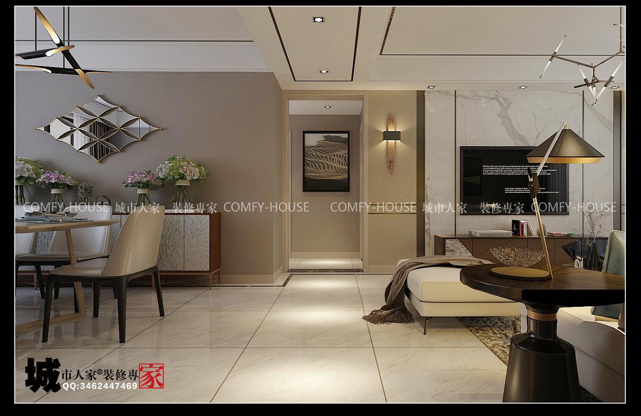 翡翠大观135平方三室两厅现代风格装修效果图