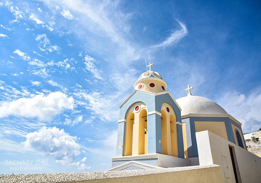蓝天白云圣托里尼