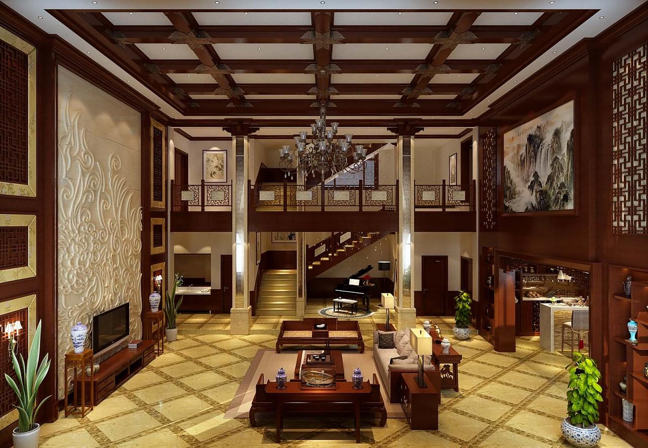 郑州自建1000平风格设计中式别墅装修样板间设计别墅强白塔古沟张图片