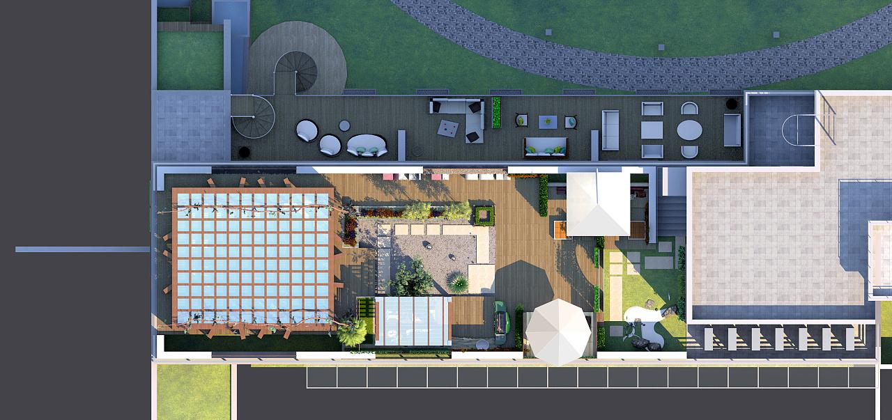 屋顶花园景观方案效果图