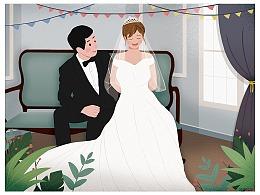 闺蜜婚纱照卡通版