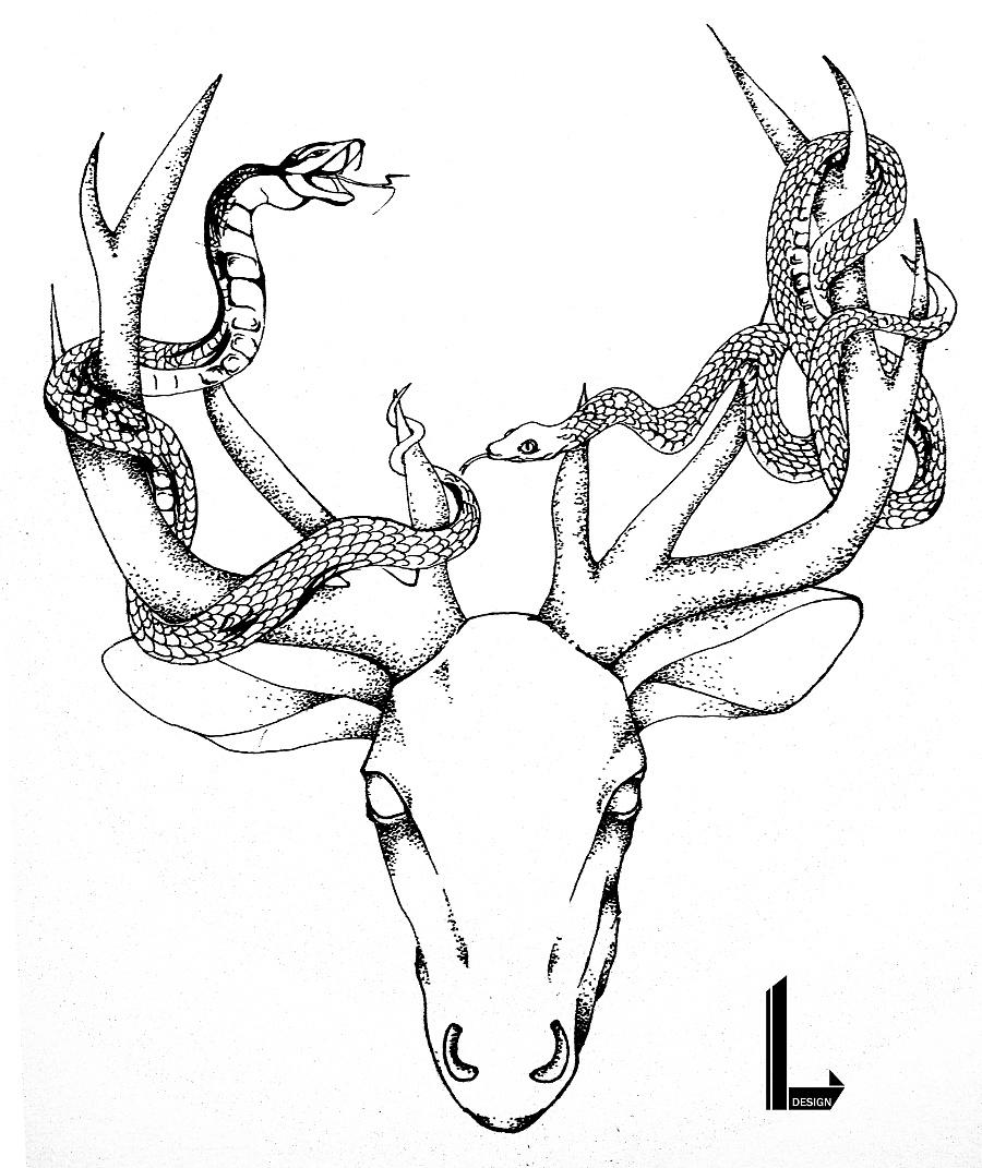 动物系列-黑白手绘装饰画|涂鸦/潮流|插画|wher_e