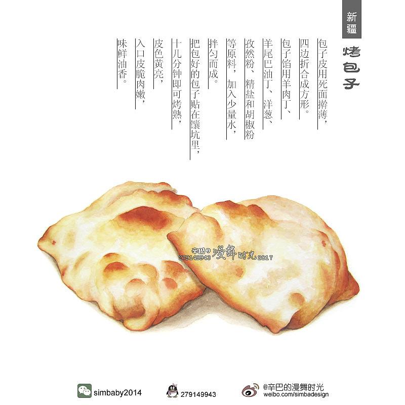 手绘水彩新疆美食