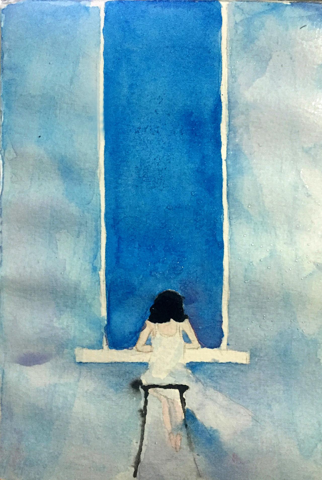 水彩手绘练习-窗外