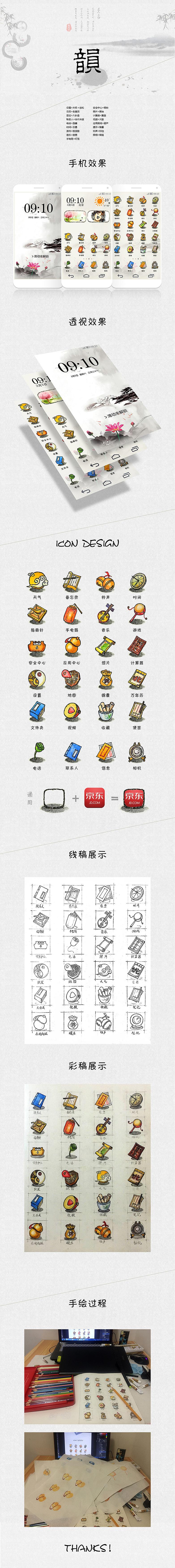 中国风手绘主题图标