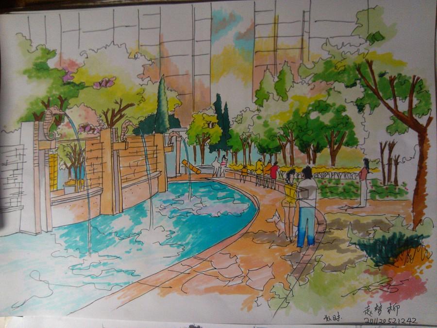 马克笔景观手绘练习|园林景观/规划|空间/建筑