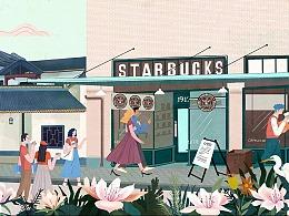 星巴克长沙桃子湖店大型壁画