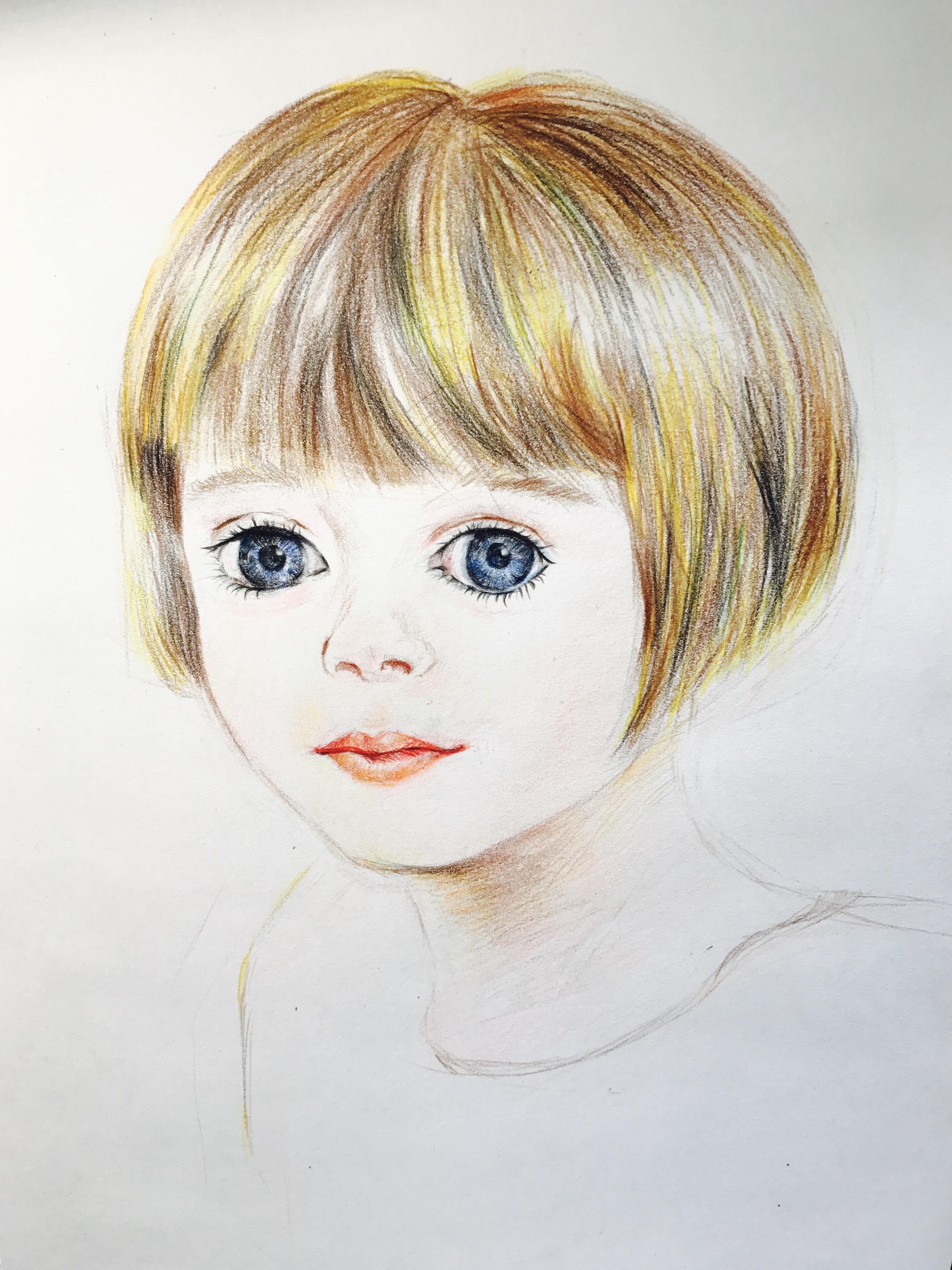 彩铅手绘女孩头像_发型设计