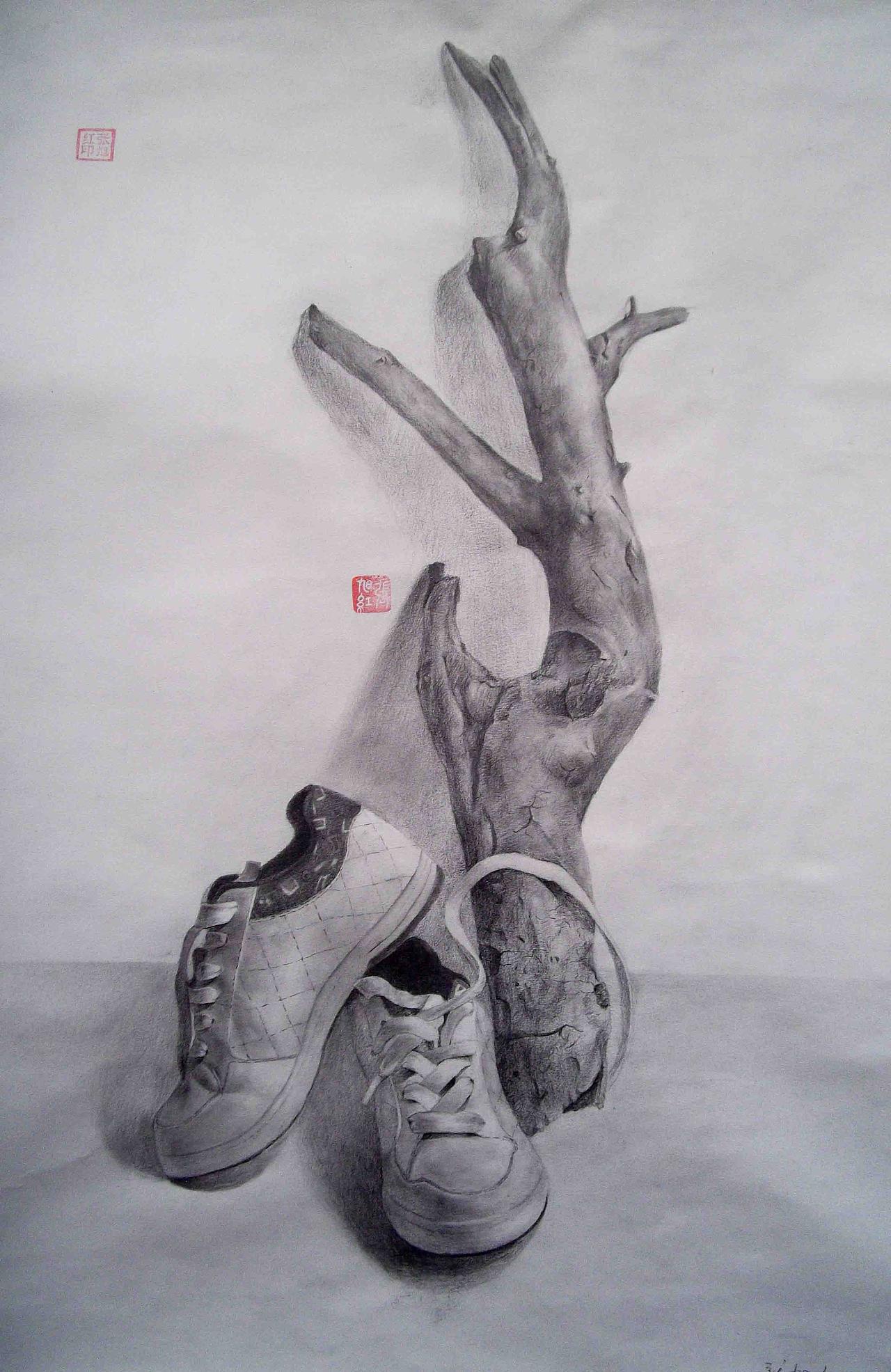 静物 树 鞋 素描