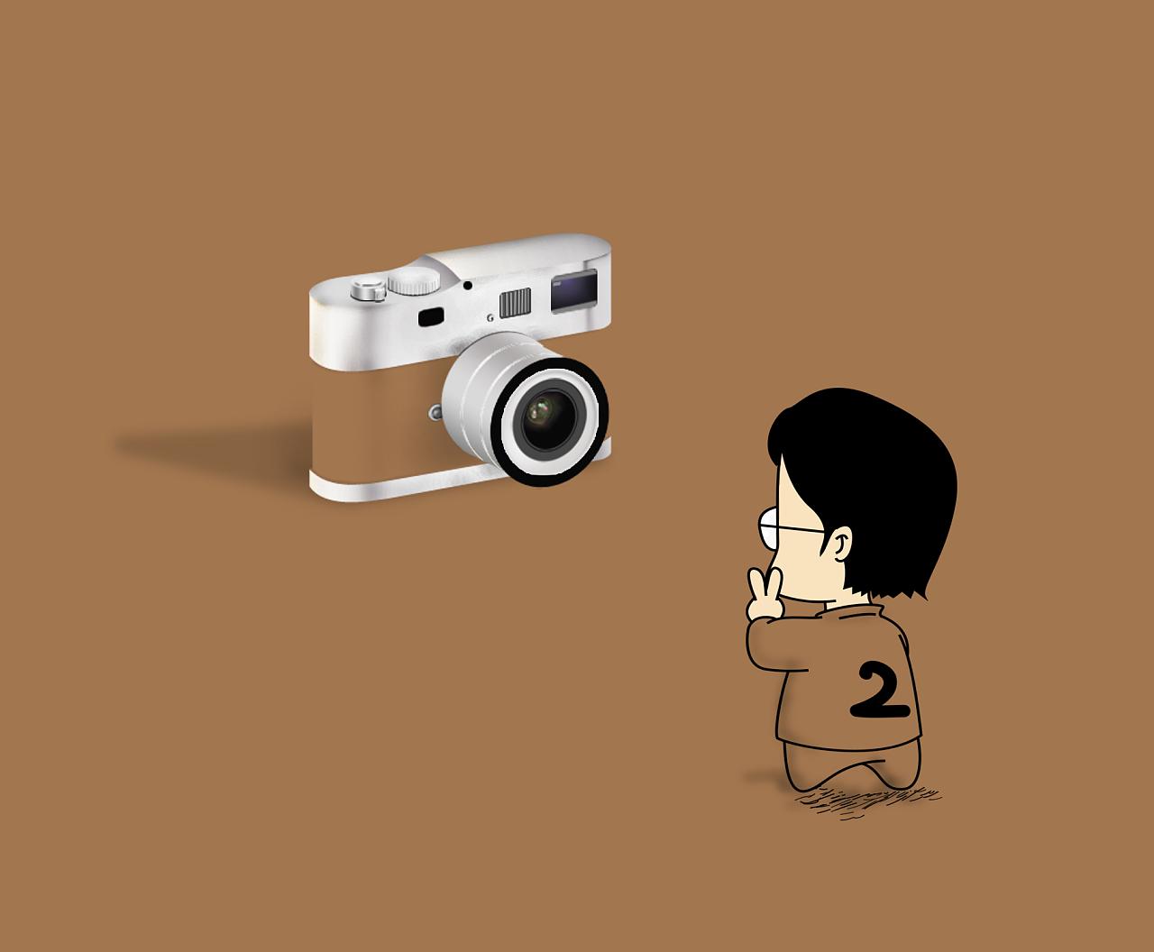 手绘简约徕卡相机