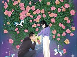 花语插画系列——蔷薇花