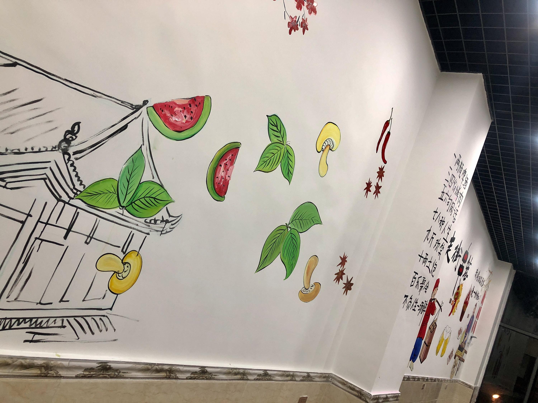 竹签烤肉店墙绘壁画手绘