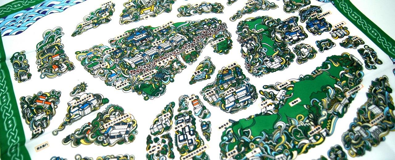 武汉大学手绘地图丝巾-成品