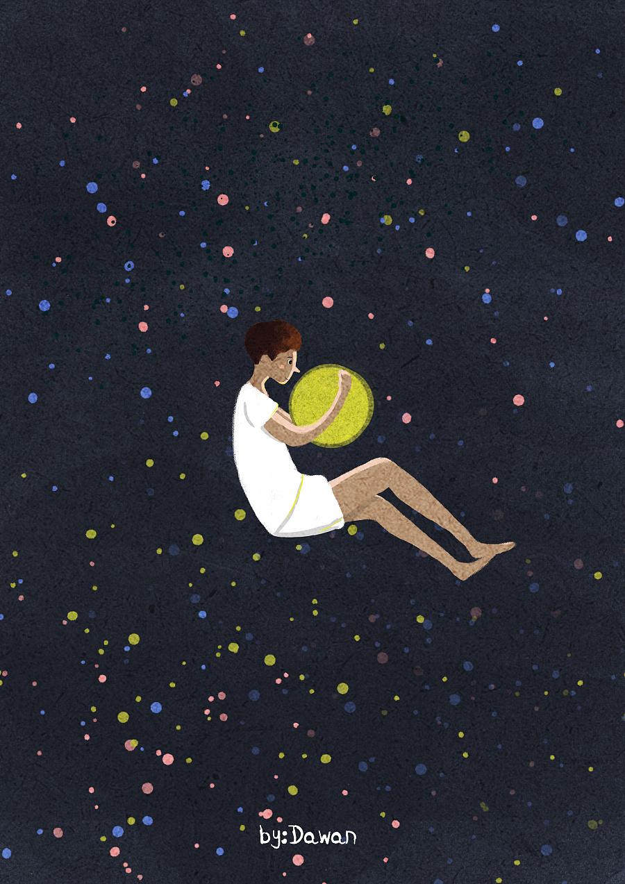 原创作品:拥抱月亮的男孩图片