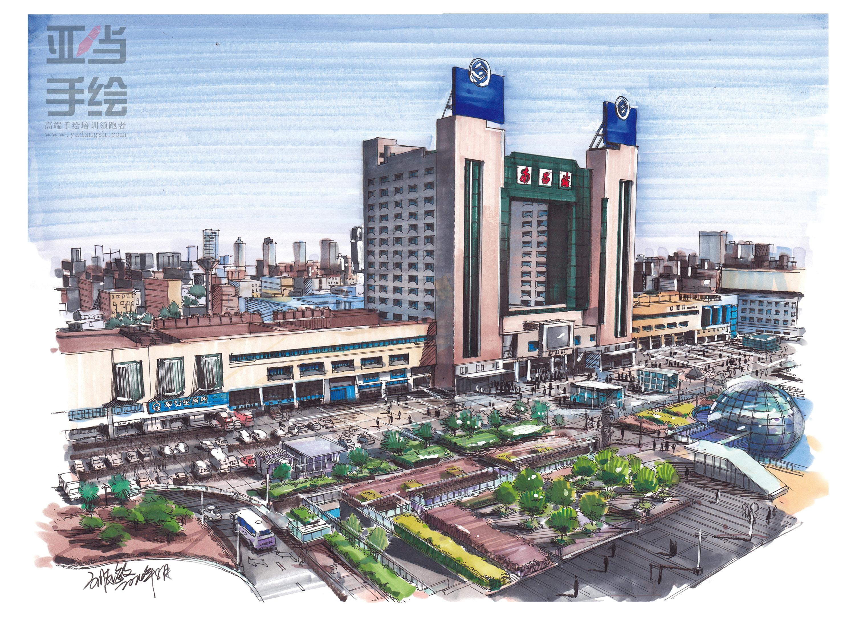 南昌火车站手绘|空间|建筑设计|南昌亚当手绘设计