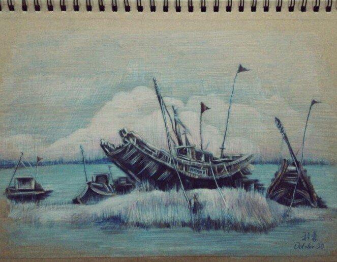 彩铅手绘泸州图片风景