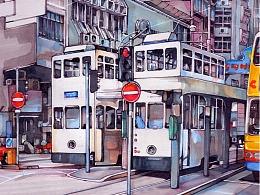 香港马克笔手绘
