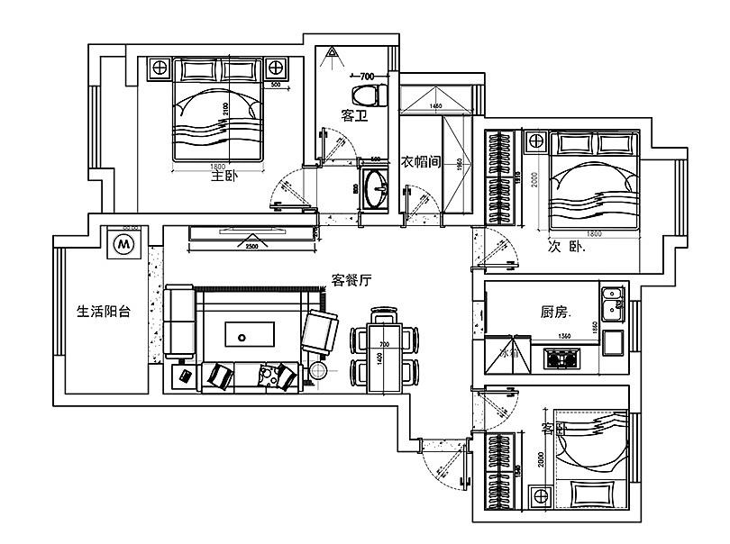 东方风格城装修87平三室一厅-北欧案例国际|空苏州古典园林设计心理图片