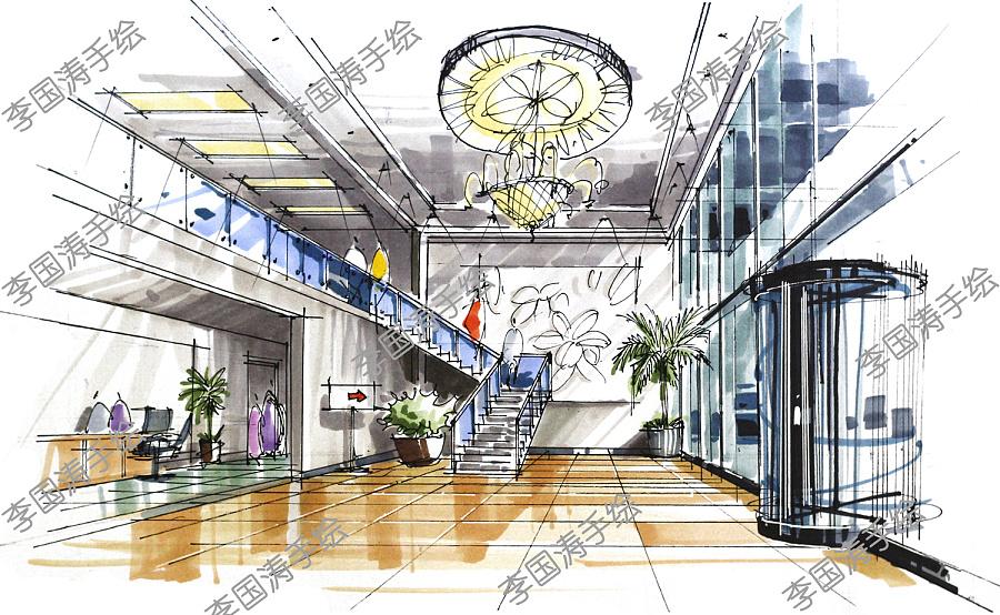 马克笔建筑手绘【李国涛手绘】|建筑设计|空间|li