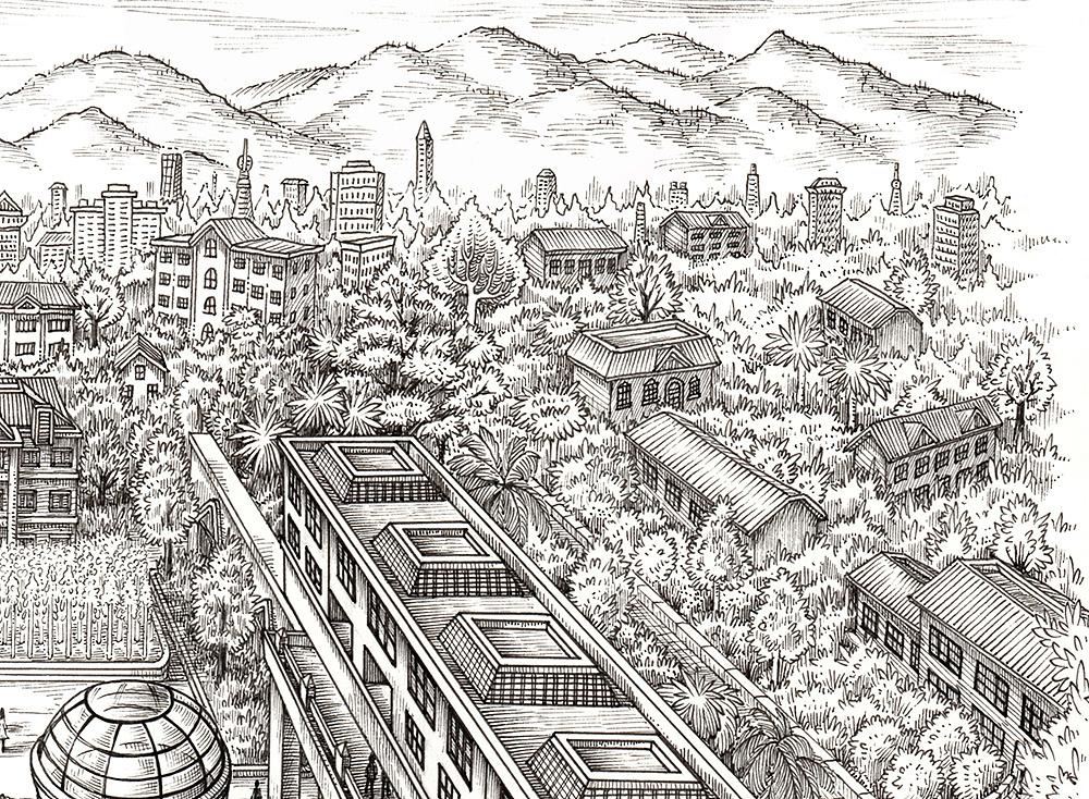 《中国华信大院图》手绘作品