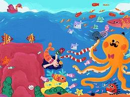 杭州乐堤港世界吉尼斯纪录画展背景插画设计