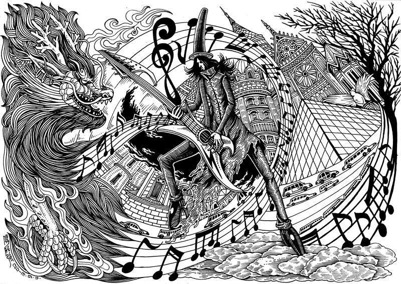 《孤独演奏者》手绘黑白稿 ps上色过程