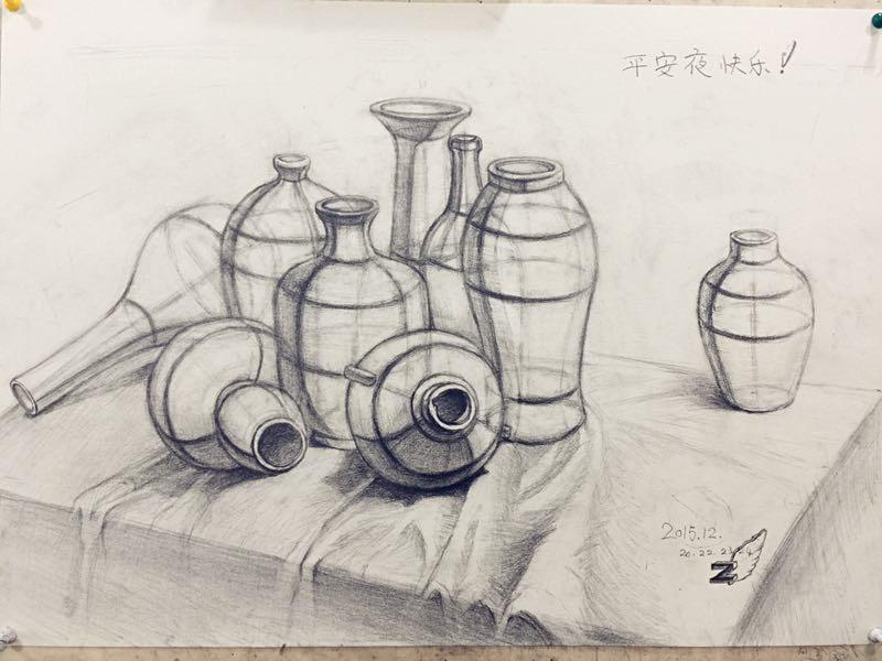 静物组合结构素描,九个罐子.4k.