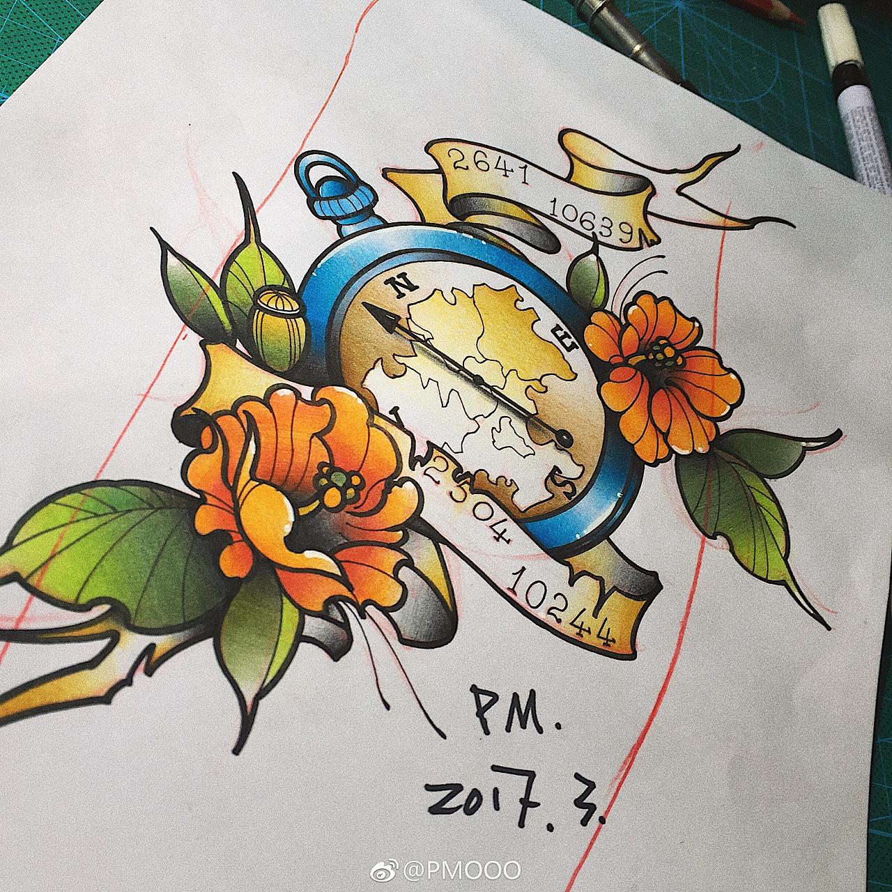 指南针纹身手稿以及完成作品