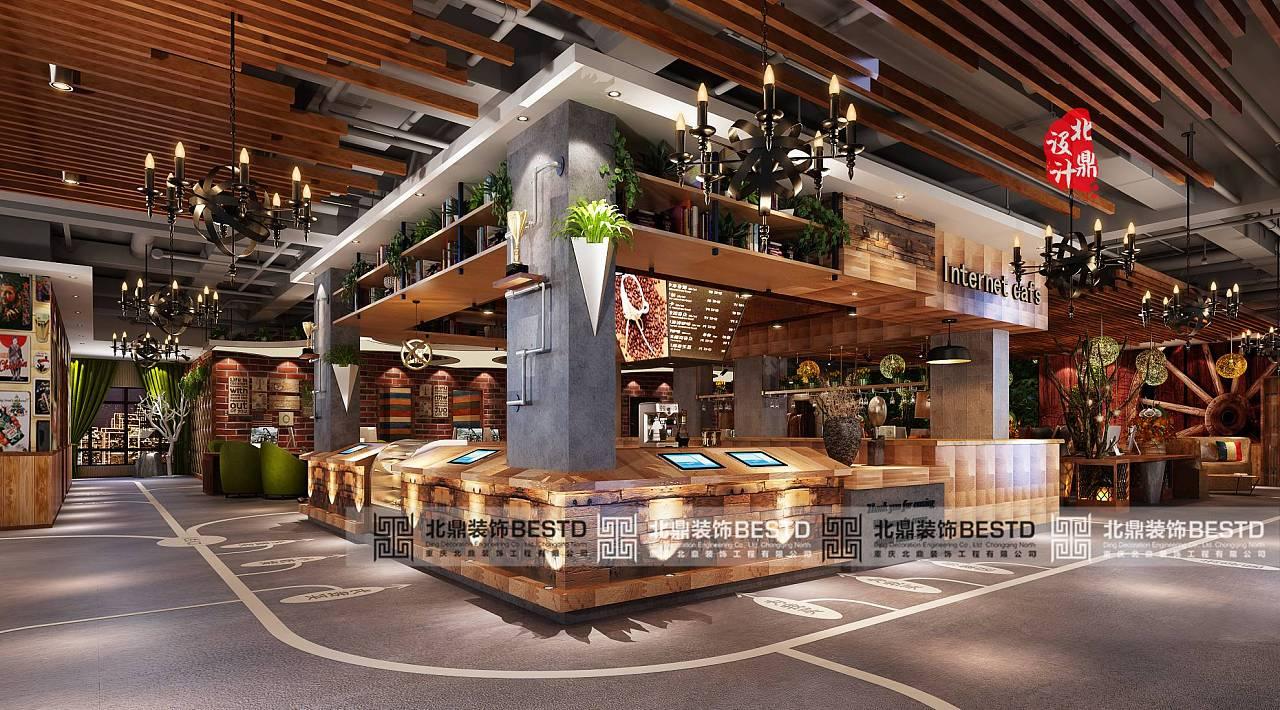 网咖水吧台设计丨网吧吧台装修效果图丨2016网吧吧台设计