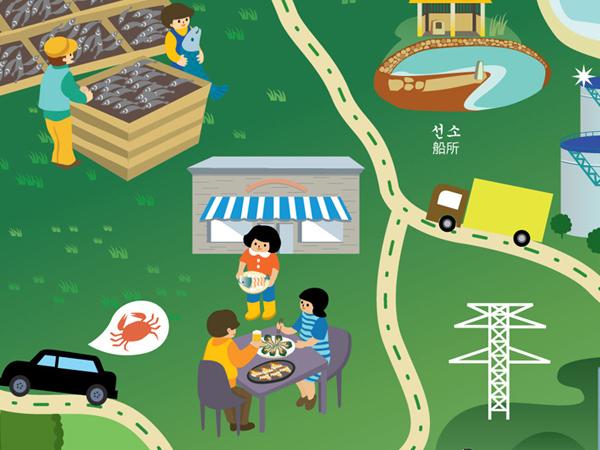 韩国丽水手绘地图|商业插画|插画|跳叫板