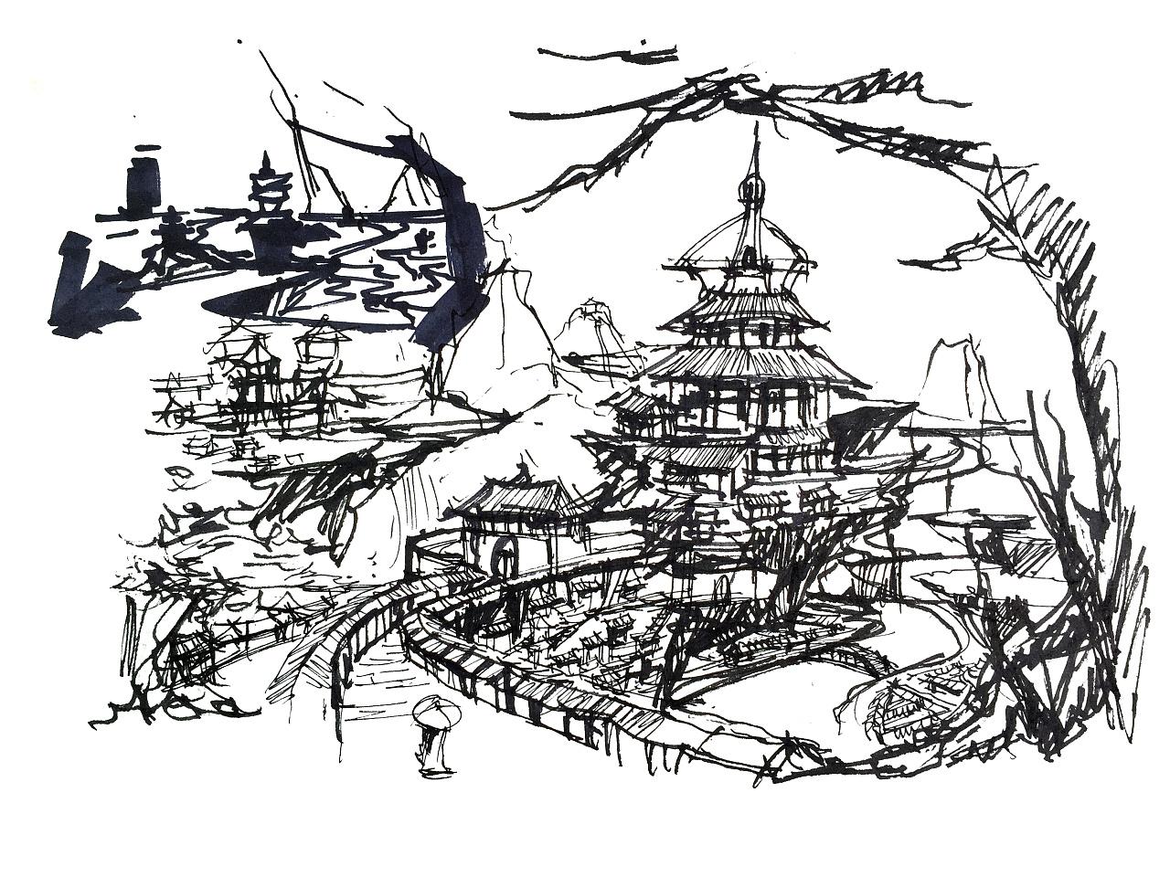 李万海手绘原创古风场景