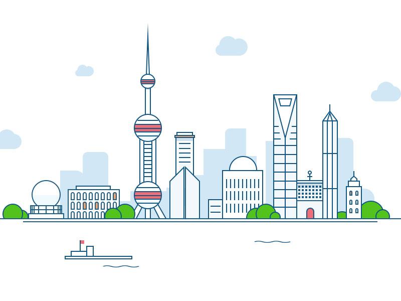 【简洁线条】上海外滩